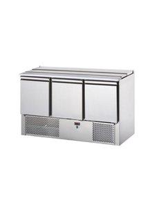 TopCold Saladette met 3 deuren GN1/1 | +2°/+10°C | 1380x700xH880mm.