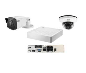 Basic camerasysteem 1x binnen dome camera, 1x buiten camera en 4ch recorder