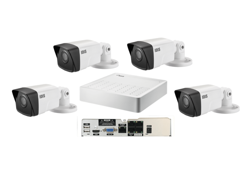 Idis Basic camerasysteem 4x buiten camera en 4ch recorder