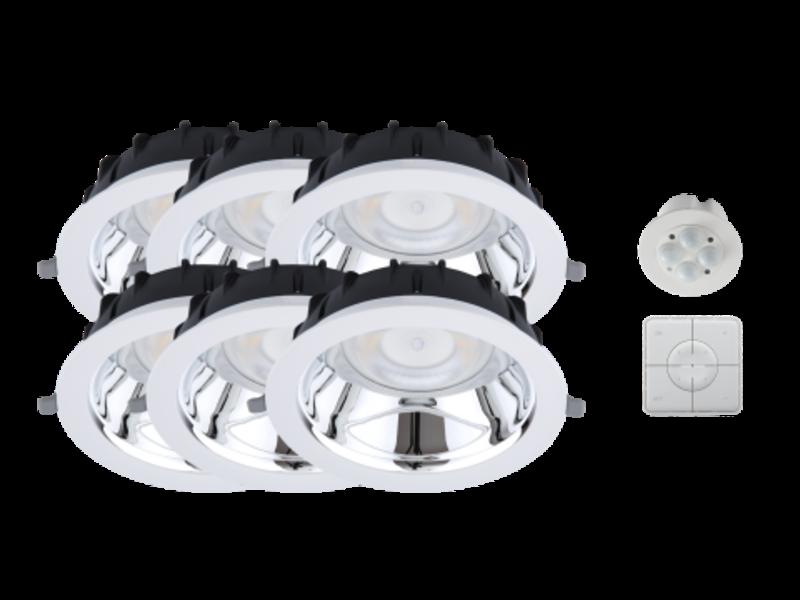 Opple Duurzame Smart Starter verlichting Kit type B 6st LED Downlights, Smart Sensor en Smart Switch