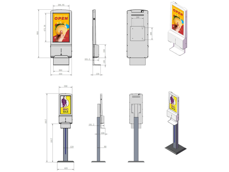 AMT AMT automatische desinfectiezuil met beeldscherm