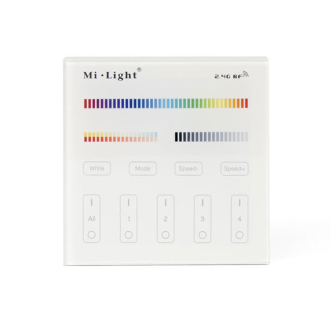 Mi-Light-seinäsäädin RGB+CCT 4 zone pattereilla