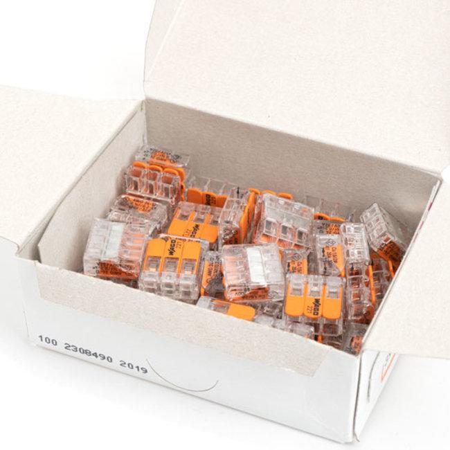 Wago-kytkentäliitin 3 napaa 50 kappaleen laatikko