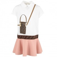 Fendi Dress with logoband and print