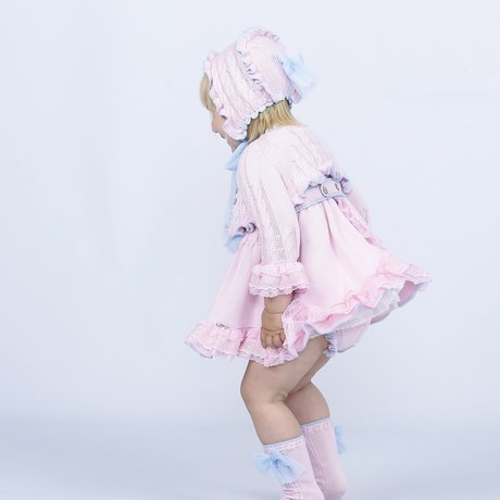 Lolly Pop by Sascha Dress with cardigan, shorts and bonnet