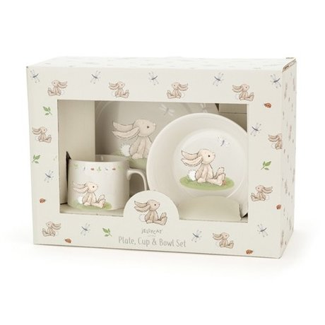 Jellycat Bunny plate, cup & bowl set