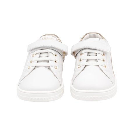 White sneakers with gold