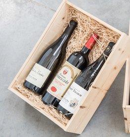 Geschenkkist met 3 fl wijn uit Frankrijk