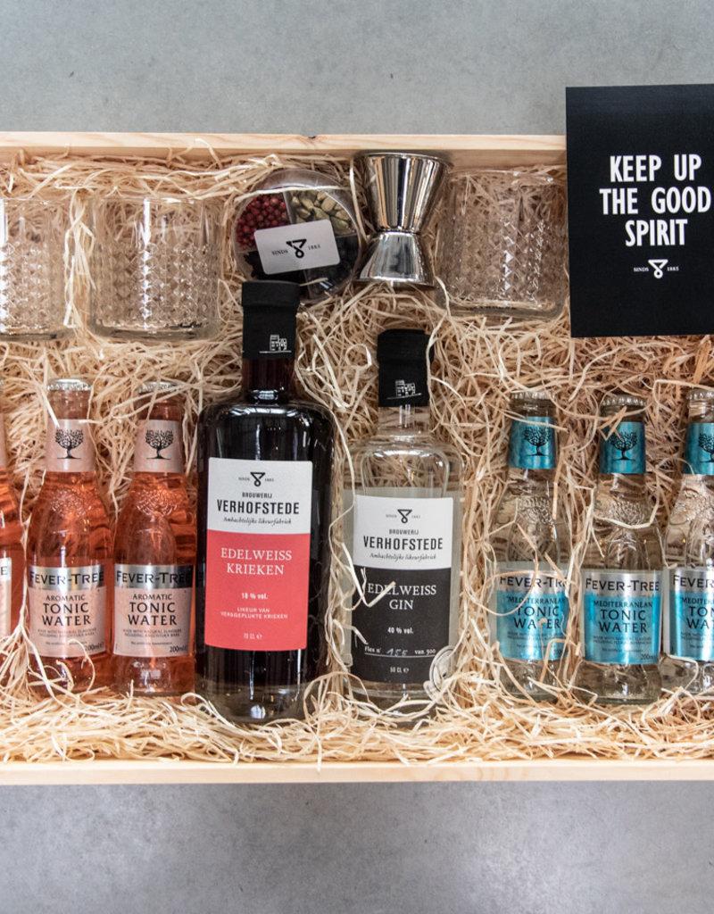 Geschenkkist Edelweiss Gin, Kriek & toebehoren