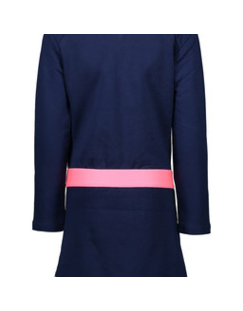 B-nosy Girls printed velours dress with contrast heavy jersey sleeves and pink piping