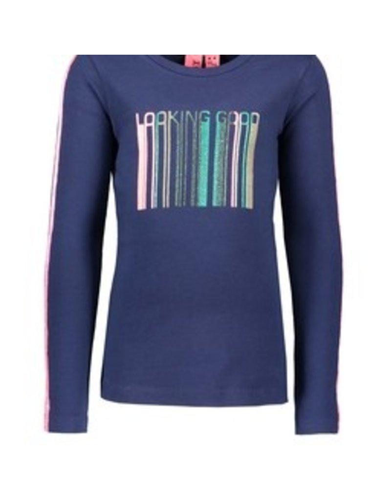 B-nosy Girls shirt with tape on sleeve, glitterprint on front