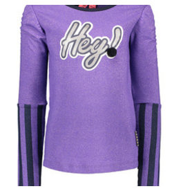 B-nosy Girls shirt with elaticated sleeve, stripe print sleeves, foil print with pompom