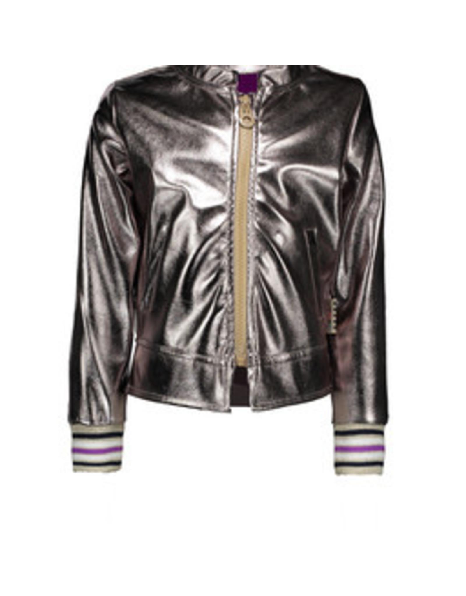 B-nosy Girls fake leather cardigan with zipper, rib on cuff