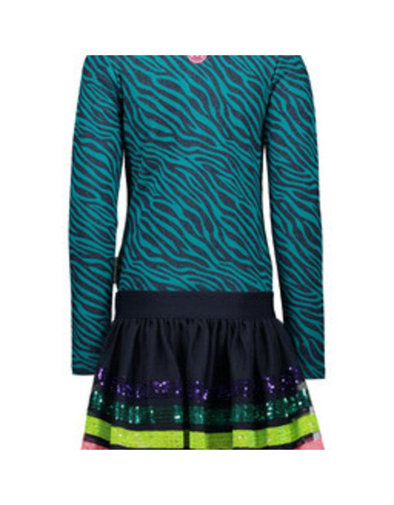 B-nosy Girls sequinces stripe dress, with glitter zebra top part