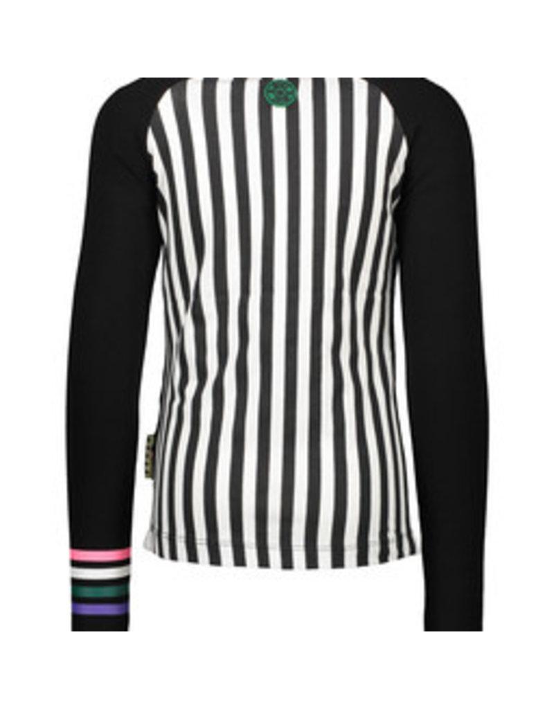 B-nosy Girls raglan shirt with panel print zebra/stripe