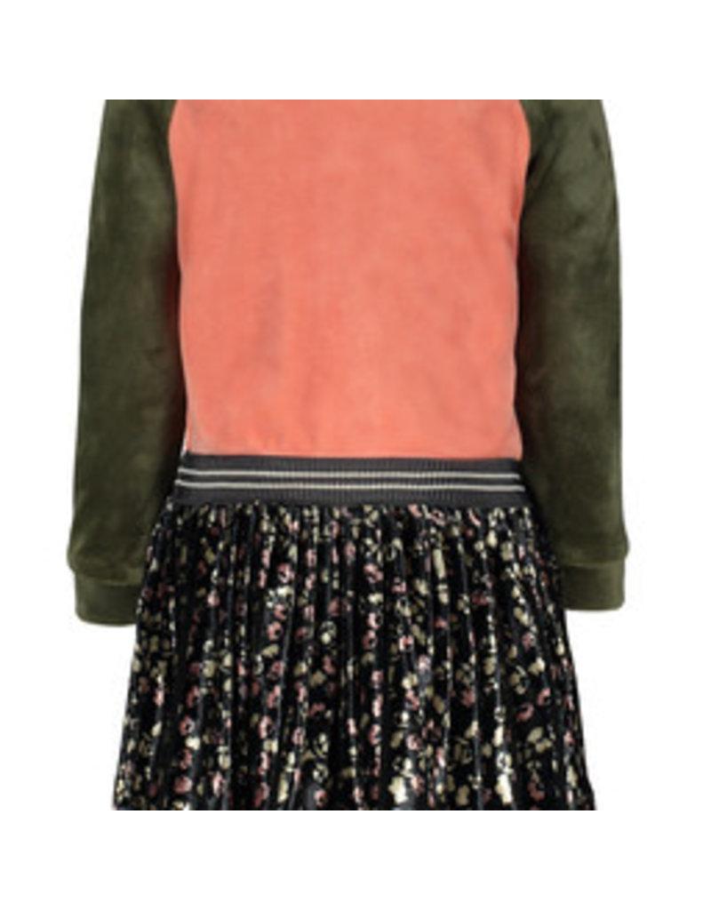 Like Flo Flo baby girls velvet colour block dress, flower plisse skirt