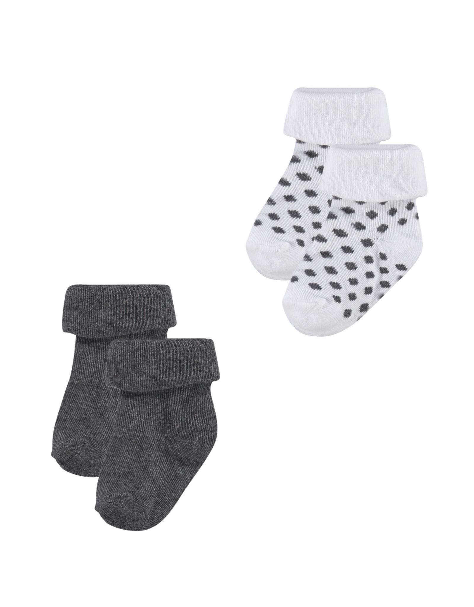 Noppies U Socks 2pack Dot dark grey melange