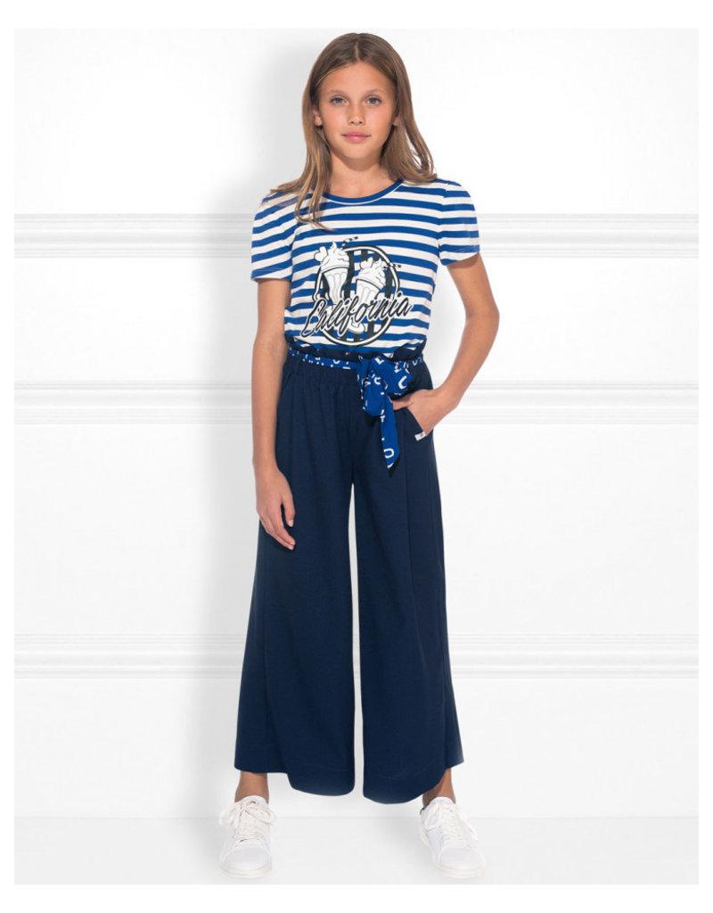 NIK & NIK Girls Calafornia T.Shirt Color: river blue White stripe