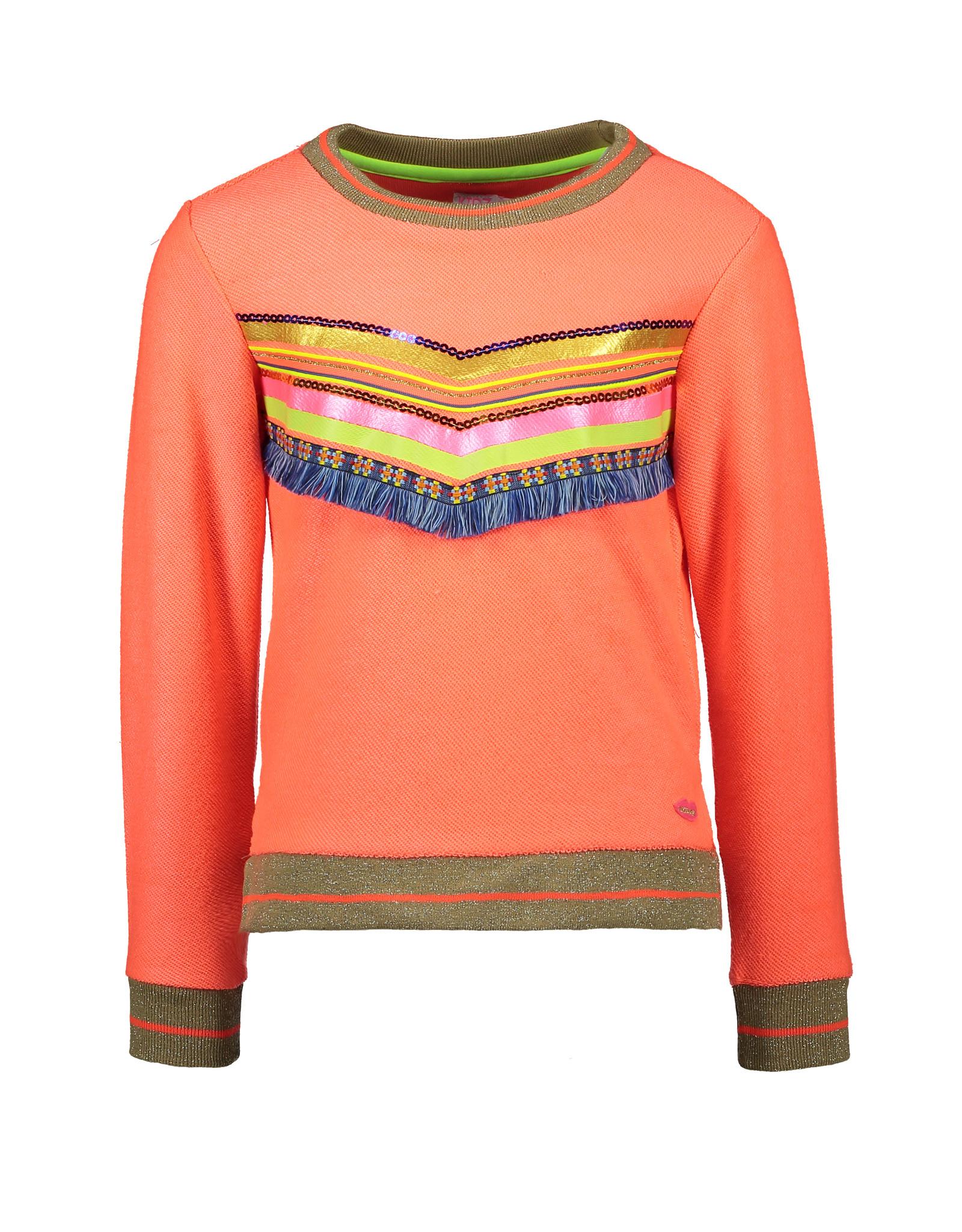 Kidz-Art Sweater with slits + striped rib cuffs + stripe and fringe tape artwork