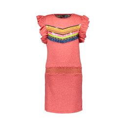 Kidz-Art Dress ruffle s/s grindle melange with smocked waist + stripe and fringe tape artwork