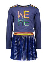 Kidz-Art Dress longsleeve with jersey top + satin plissé skirt maat 110/116with gold stripe coating + fancy stripe elastic WE ME