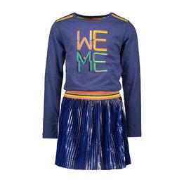 Kidz-Art Dress longsleeve with jersey top + satin plissé skirt with gold stripe coating + fancy stripe elastic WE ME