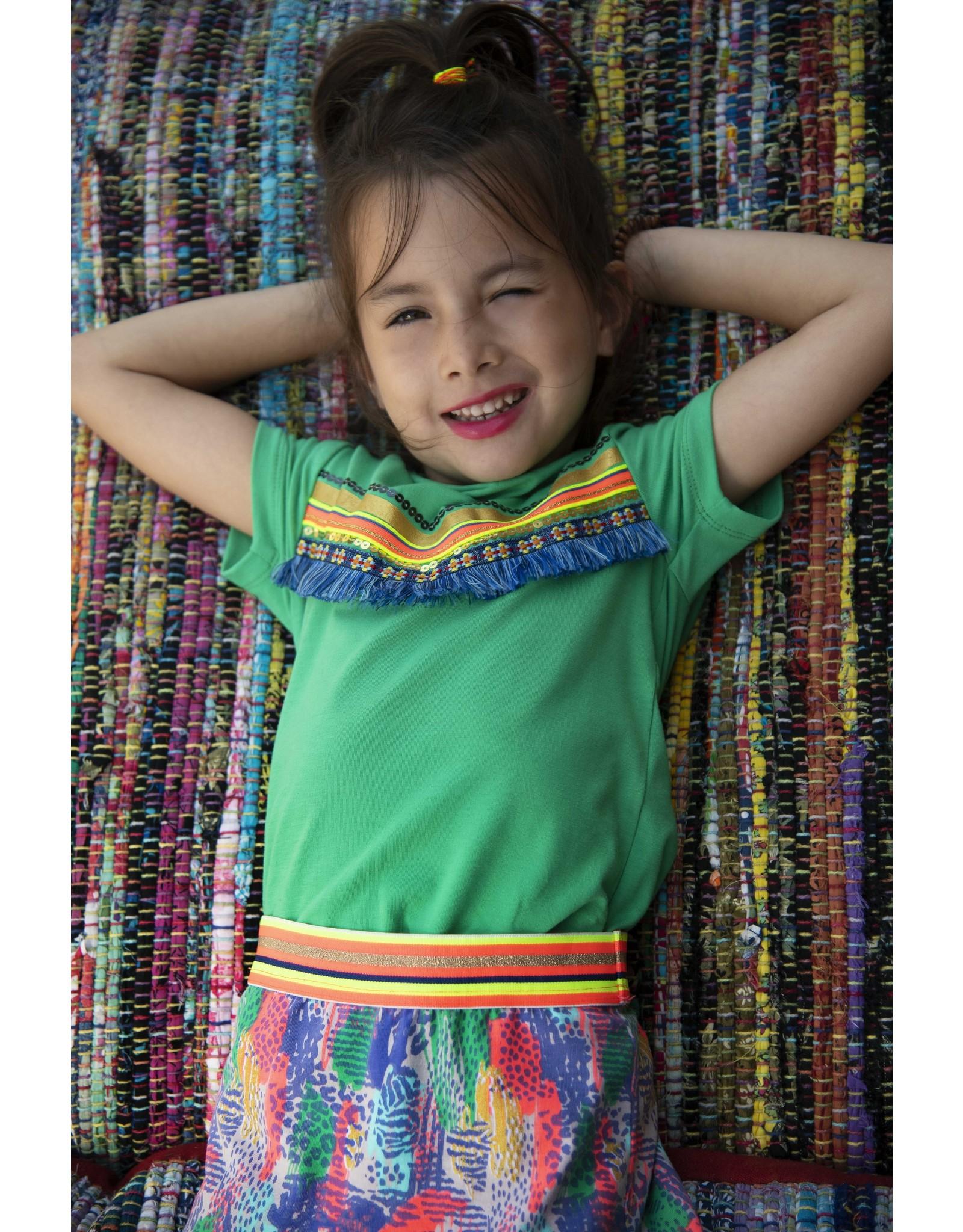 Kidz-Art Skirt peplum allover print + fancy stripe elastic