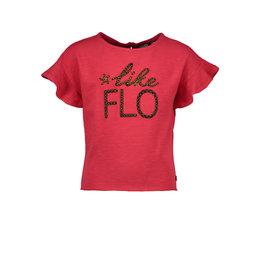Like Flo Flo girls slub jersey ruffle top cerise