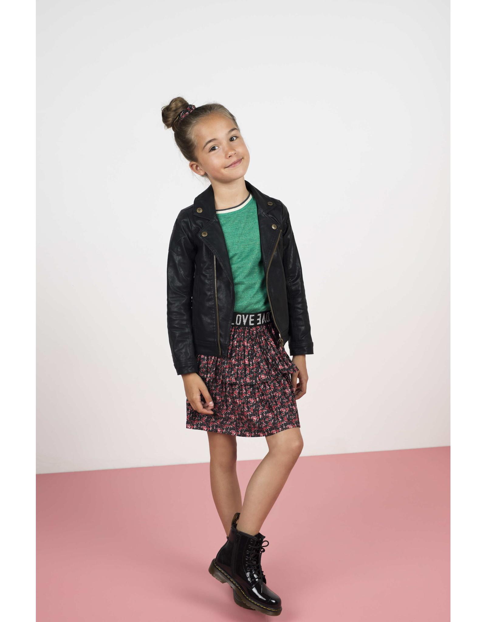 Like Flo Flo girls AO shiny jersey plisse skirt 2 layer flower
