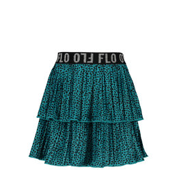Like Flo Flo girls AO shiny jersey plisse skirt 2 layer turquise