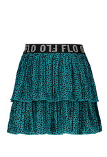 Like Flo Flo girls AO shiny jersey plisse skirt 2 layer turquise