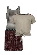 Like Flo Flo girls 2pc flower plisse dress with lurex sweat top