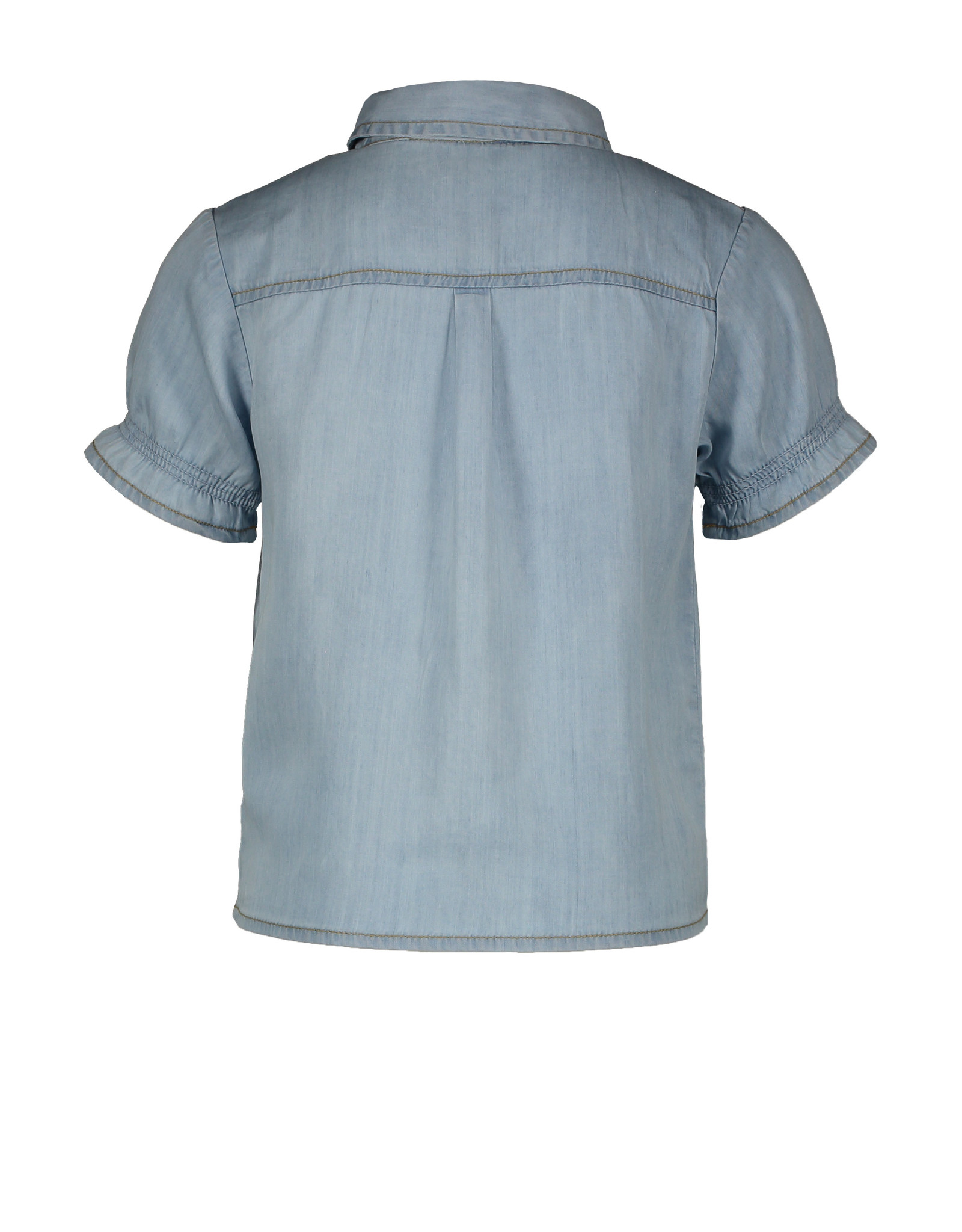 Like Flo Flo girls light denim knotted ss blouse maat 98