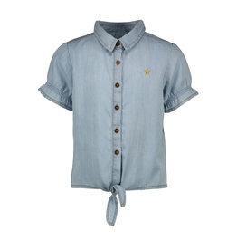 Like Flo Flo girls light denim knotted ss blouse