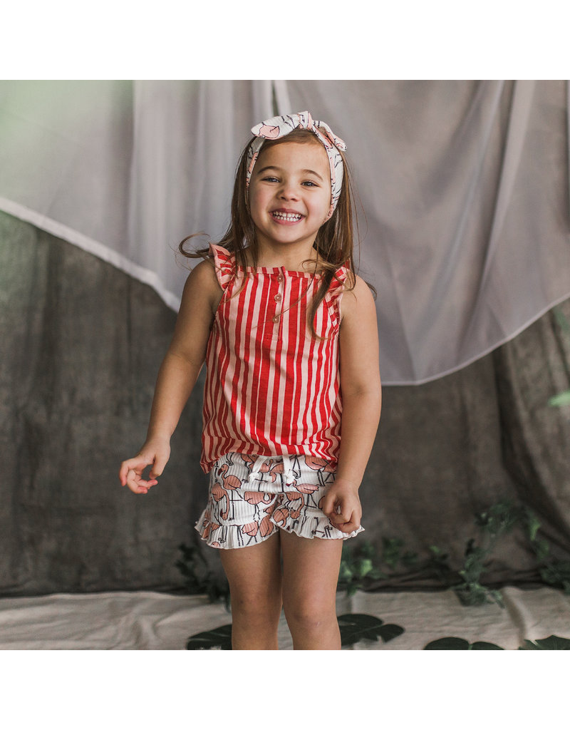 Your Wishes Pink Stripes | Ruffle Singlet