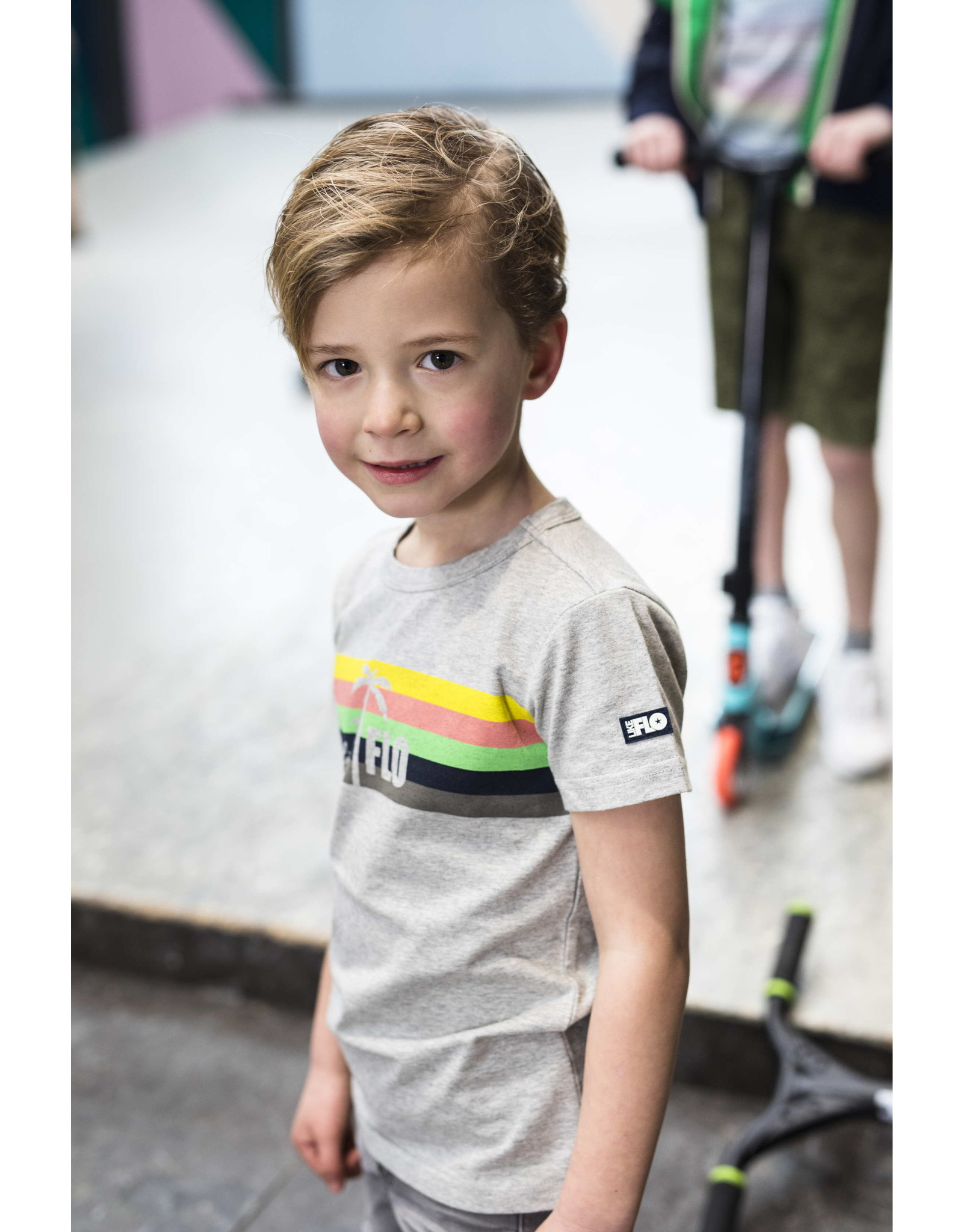 Like Flo Flo boys grey melee tee with rainbow