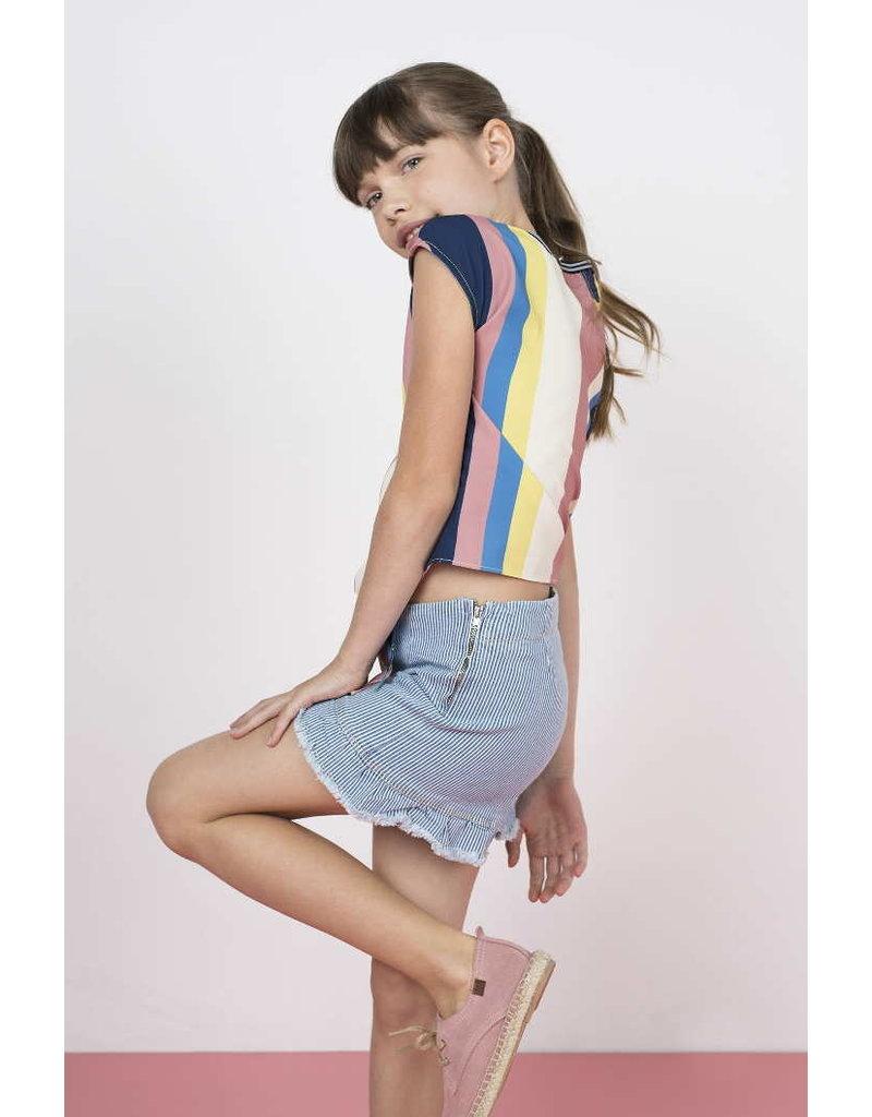 Like Flo Flo girls multi stripe knotted top