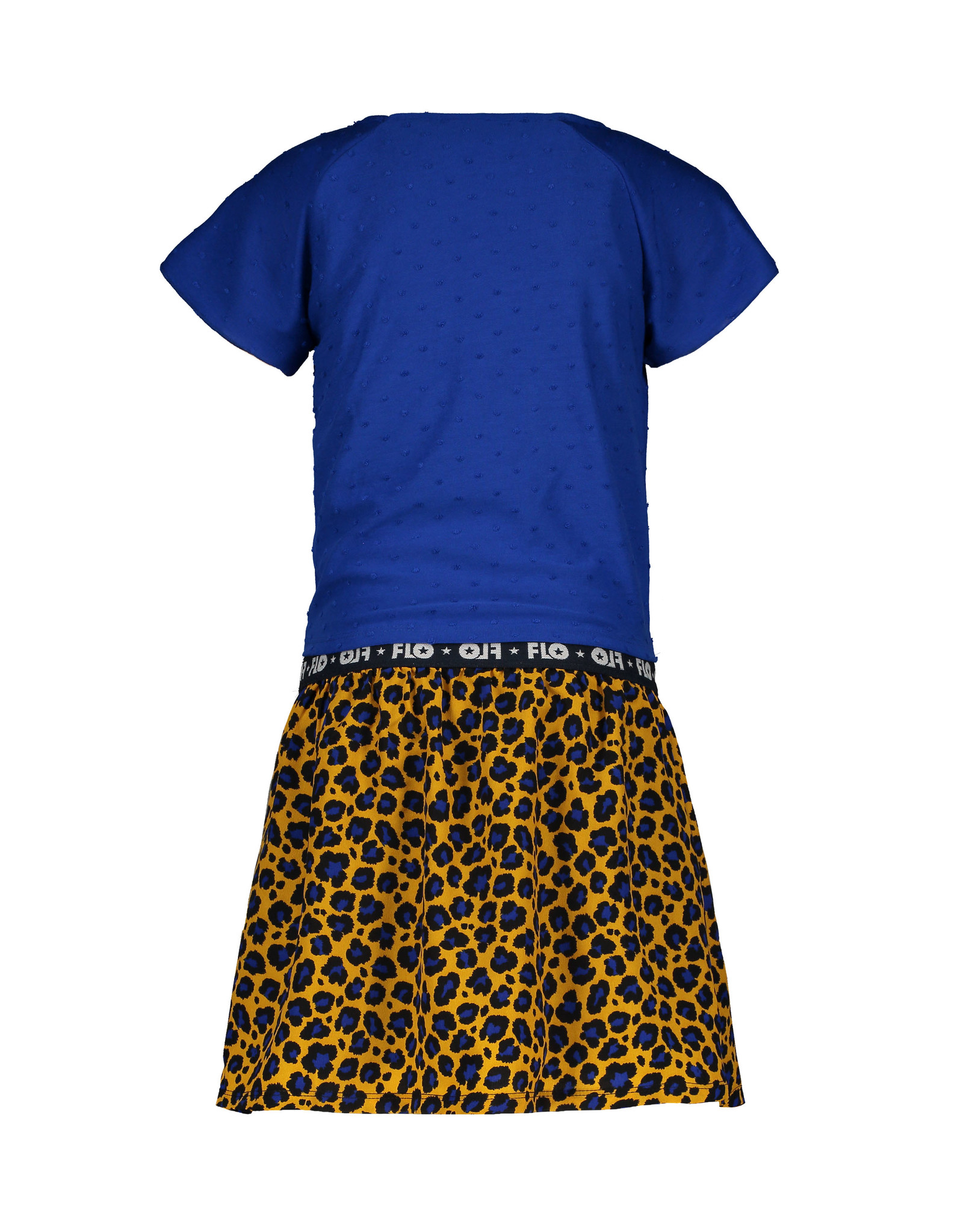 Like Flo Flo girls 2pc viscose dot dress with AO panter skirt and knotted stripe tee
