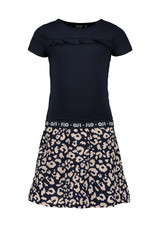 Like Flo Flo girls navy dress with AO indigo animal skirt