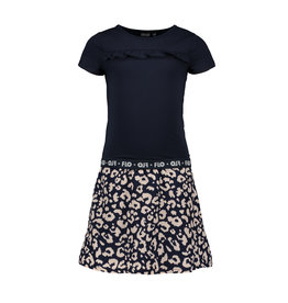 Like Flo Flo girls navy dress with AO indigo animal skirt
