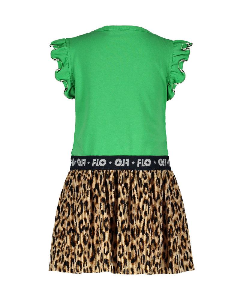 Like Flo Flo baby girls ruffle jersey dress with panter plisse skirt