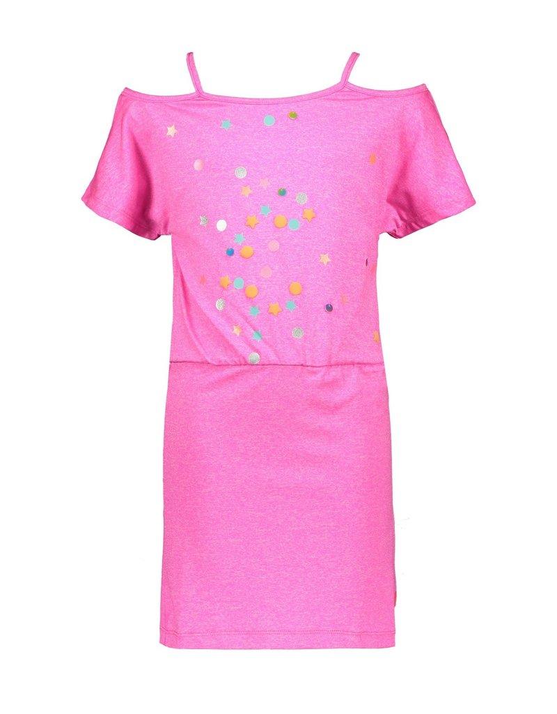 Kidz-Art Dress grindle melange fancy s/s with smocked waist + panel print CONFETTI