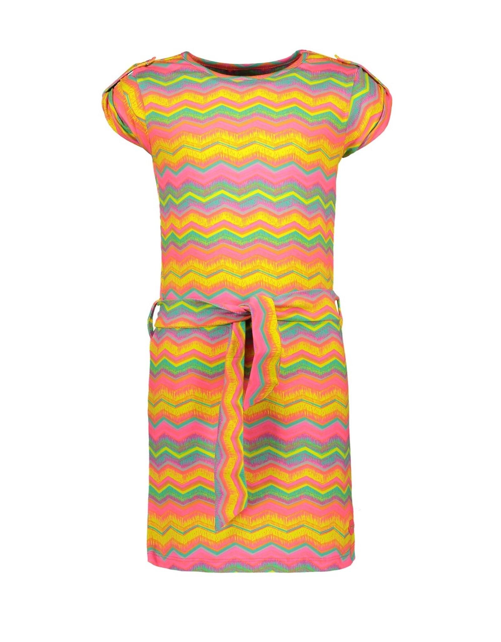 Kidz-Art Dress s/s allover print + shell fabric belt