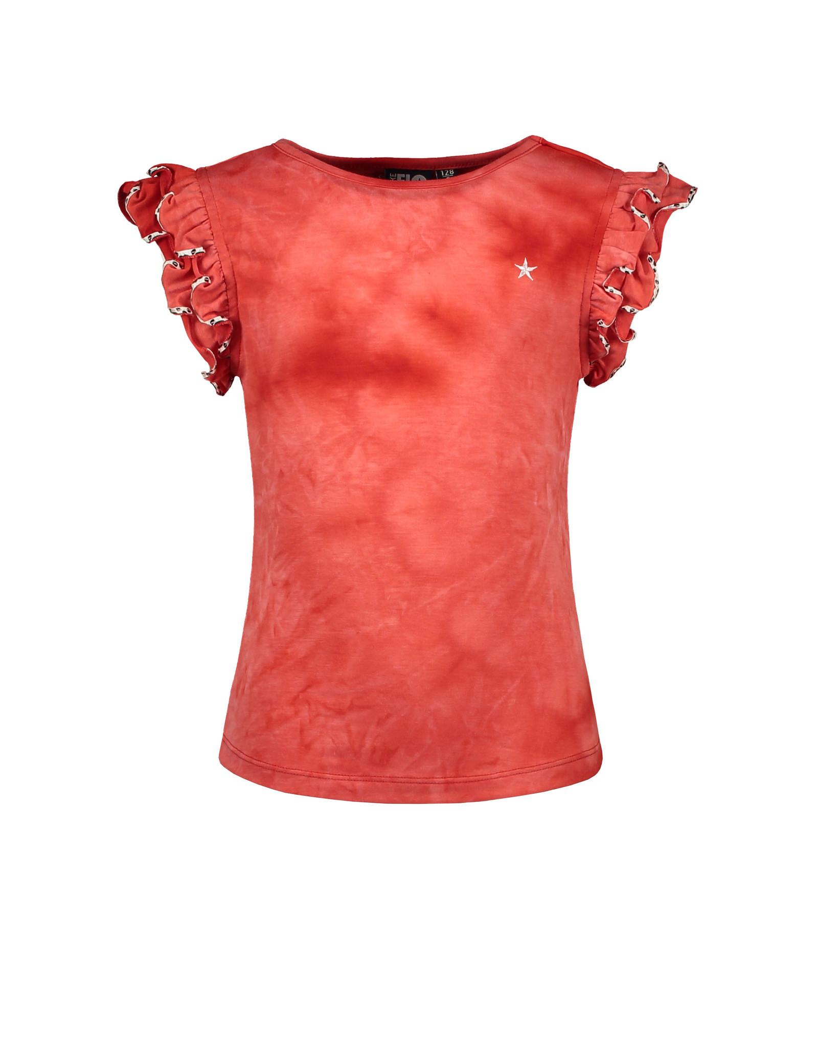 Like Flo Flo girls tie-dye jersey ruffle slv top
