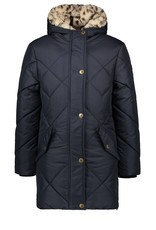 Like Flo Flo girls long hooded jacket, check quilting navy