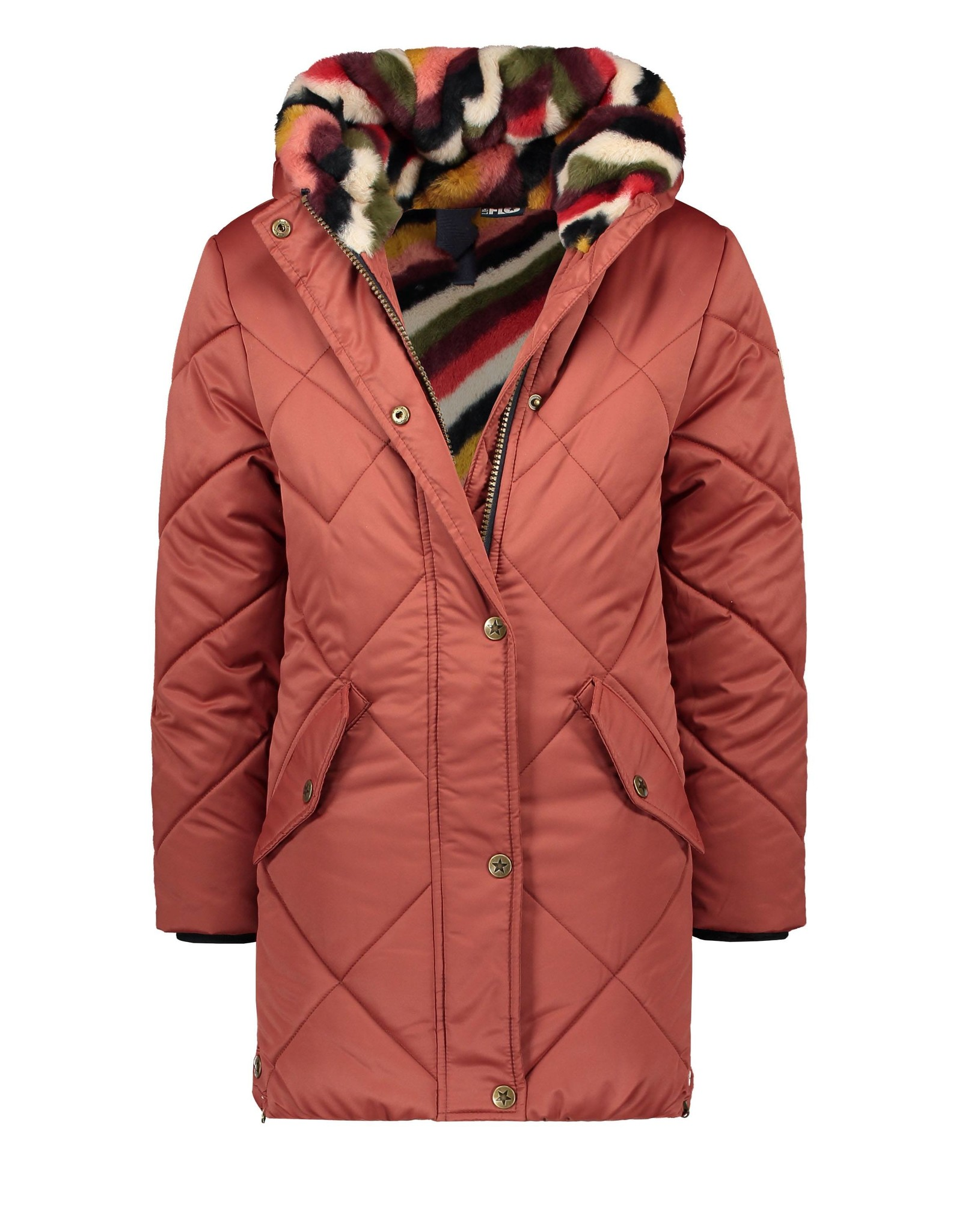Like Flo Flo girls long hooded jacket, check quilting rust