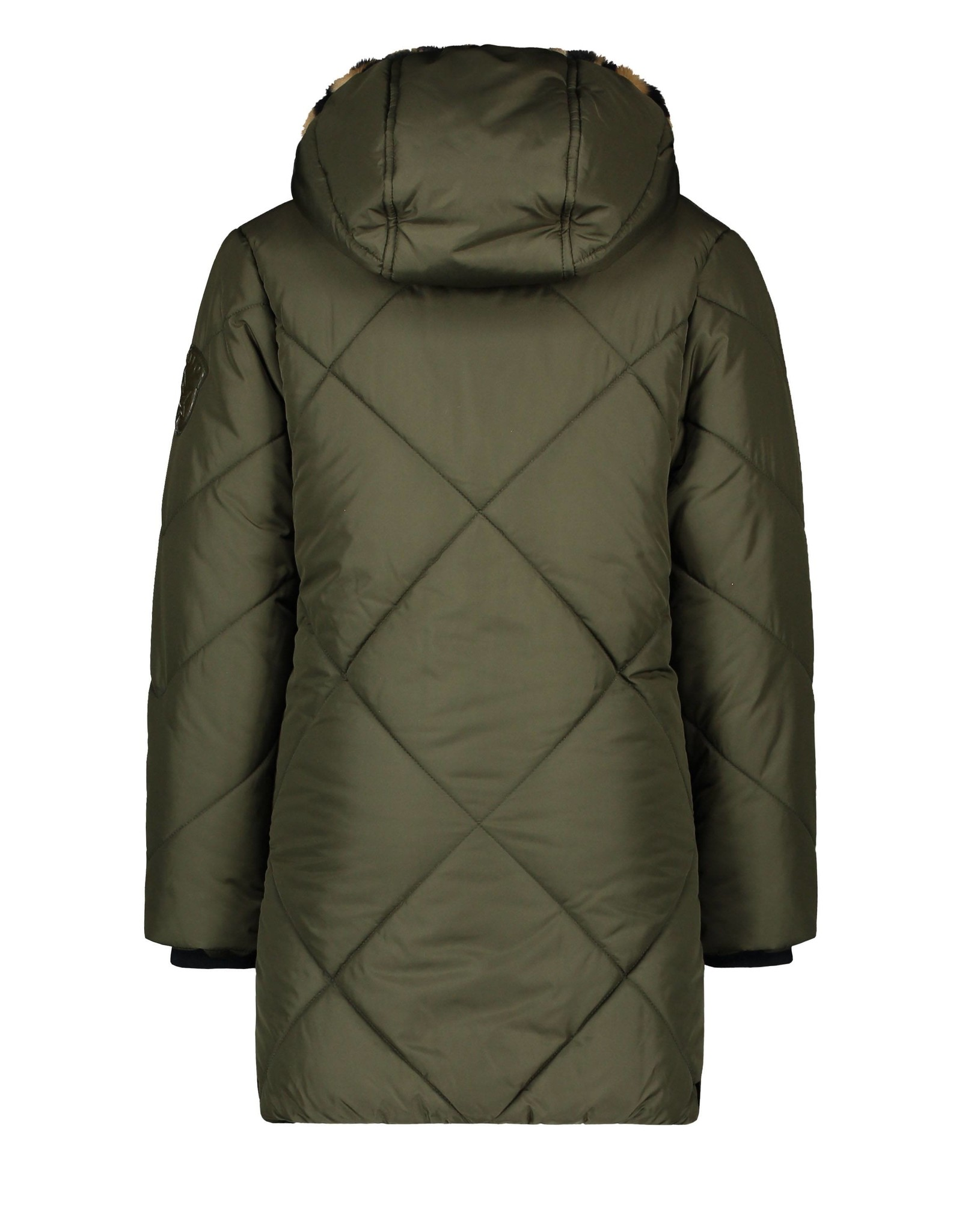 Like Flo Flo girls long hooded jacket, check quilting army
