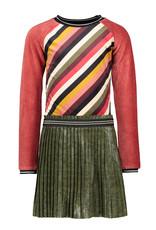 Like Flo Flo girls colour block velvet dress with plisse skirt