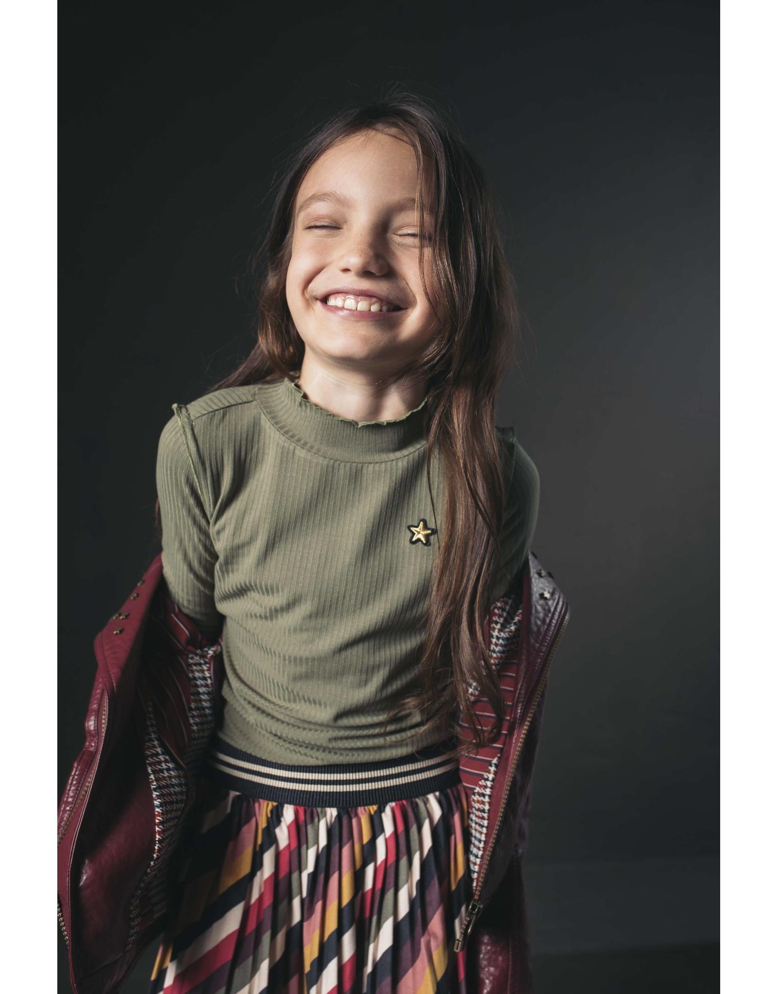 Like Flo Flo girls stripe velvet plisse skirt