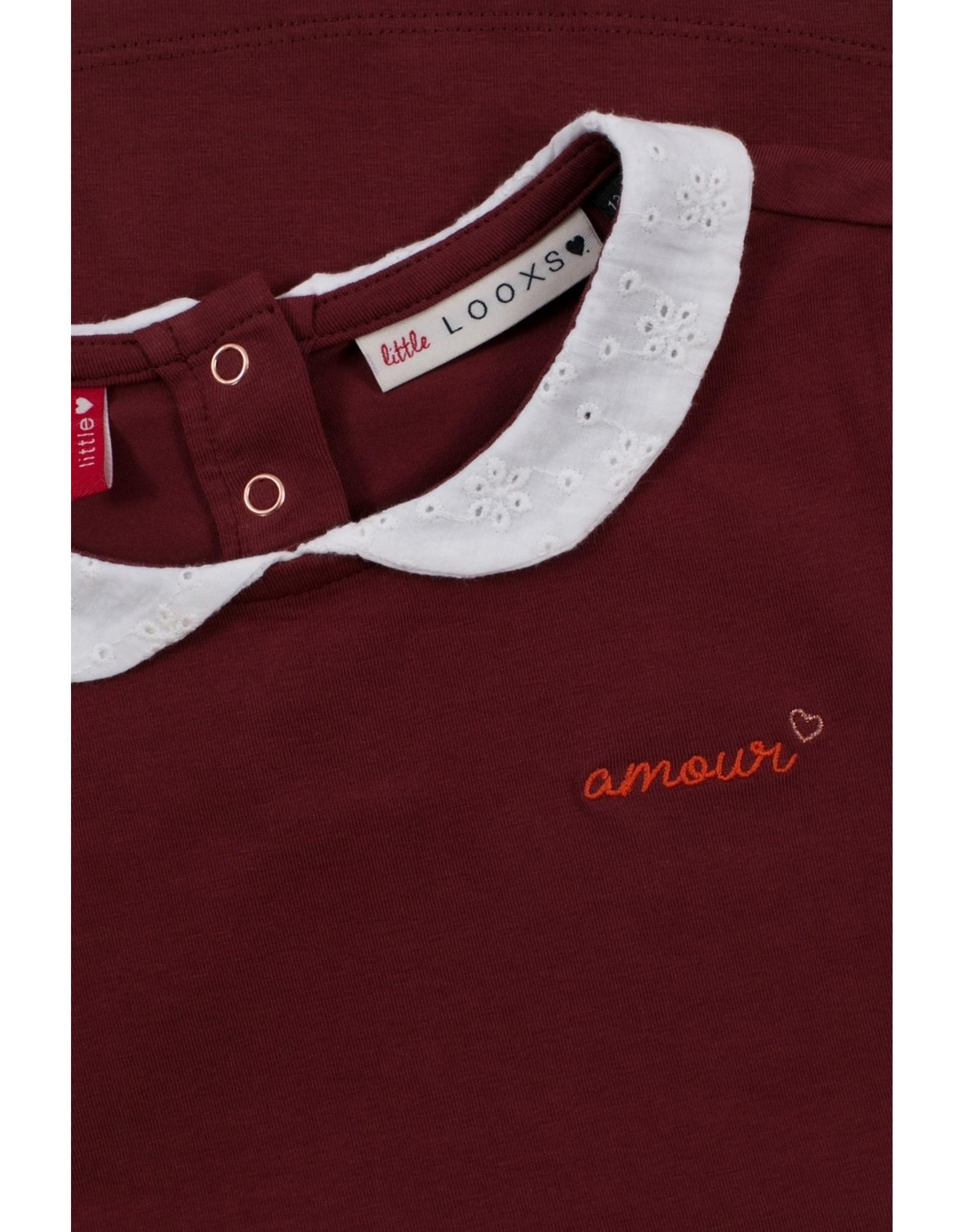 Looxs Little Little collar t-shirt l.wine maat 110